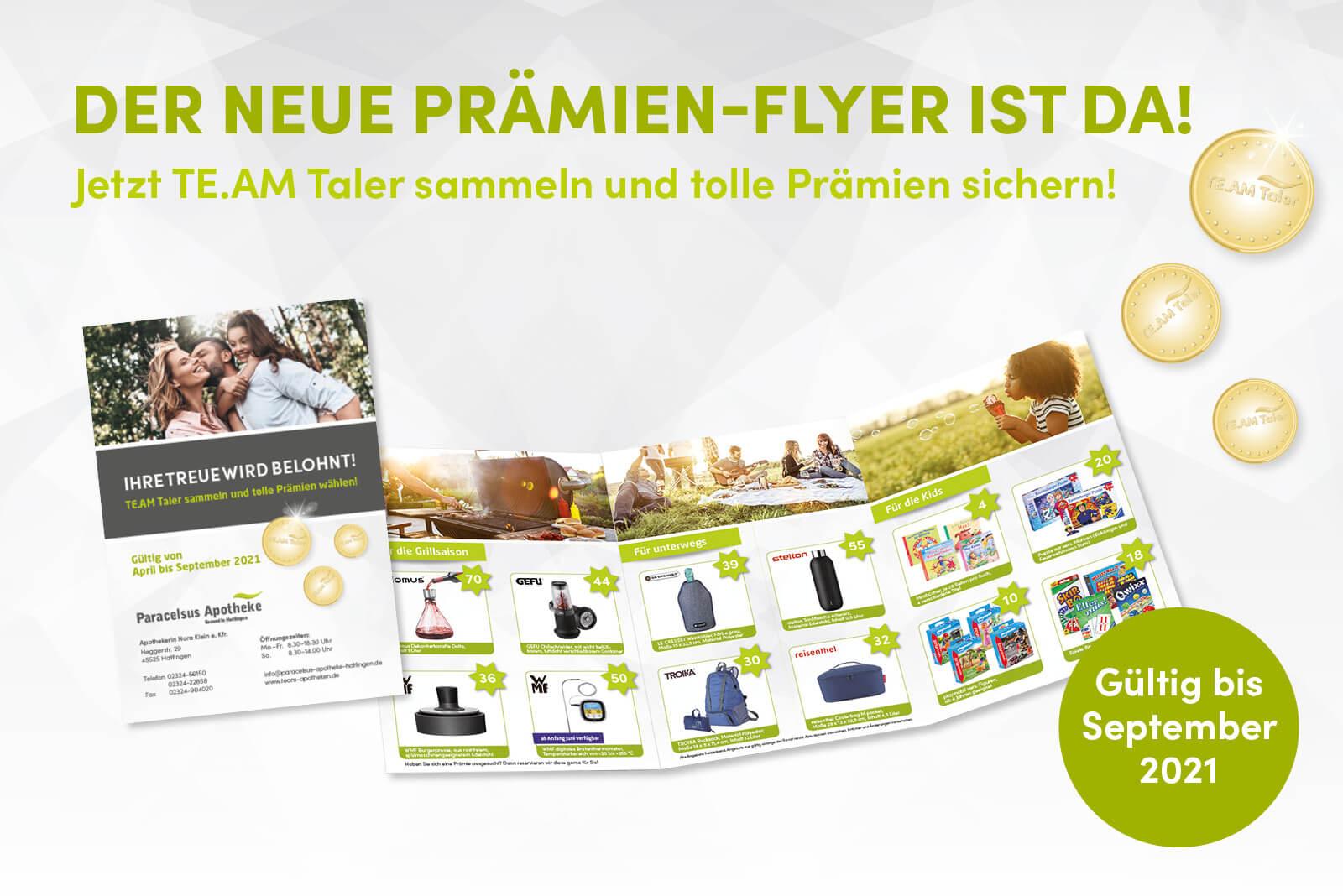 Prämien-Flyer April-September 2021 Paracelsus Apotheke